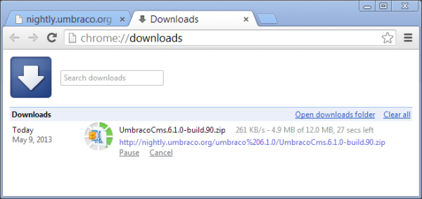 Downloading Build 90