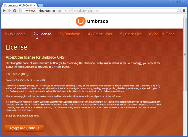 Install License Page