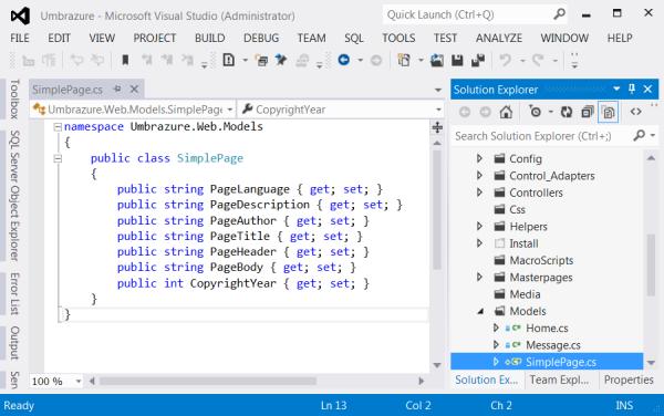 Create Model SimplePage